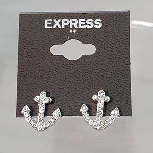 5/$30 EXPRESS SILVER PLATED ANCHOR STUD EARRINGS
